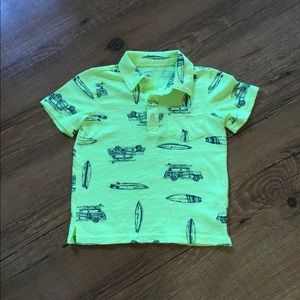 Yellow surfboard polo shirt